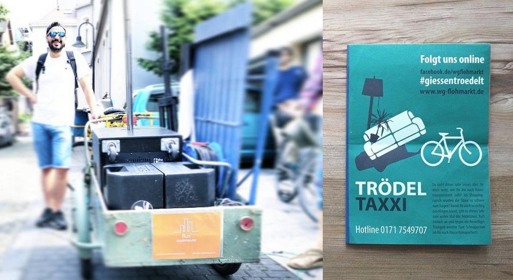Mobile Disco EHH-Kollektiv und Flyer Trödeltaxi WG-Flohmarkt